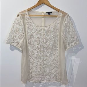 American Eagle Outfitters Ivory Embroidered Blouse